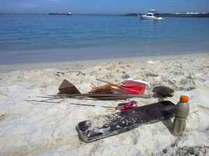 flotsam rubbish sailing boats