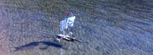 Sailing flotsam rubbish boat.