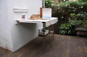 recycled timber work bench
